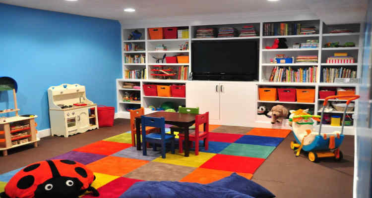 Bookshelf with Bright Coloured Books