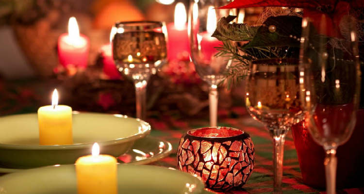 A candlelight dinner is a romantic idea